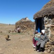 Unidentified family at Sani Pass, Lesotho at an altitude of 2 874m.  — Stock Photo