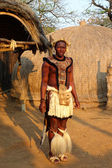 Zulu warrior in traditional clothes in Shakaland Zulu Village, South Africa — Stock Photo