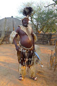 Zulu Chief with speer and shield in Shakaland Zulu Village, South Africa — Stock Photo
