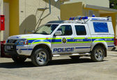 SANY PASS,LESOTHO -SEPTEMBER 19: Police car at Sani Pass border control between South Africa and Lesotho on September 19, 2009. The Kingdom of Lesotho is a landlocked country and enclave. — Stock Photo