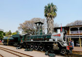 Pretoria, Güney Afrika Cumhuriyeti başkenti park istasyonuna yaklaşık havanamazlar buharlı tren — Stok fotoğraf