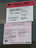 Notice of unsafe condition placed on destroyed beach house in the aftermath of Hurricane Sandy — Stock Photo