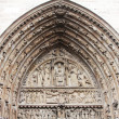 Cathedral Notre Dame de Paris, entrance, architectural details — Foto Stock #21701819