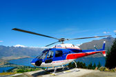 Helicopter on top of Bob's Peak with the view on Lake Wakatipu in Queenstown, New Zealand — Stock Photo