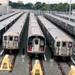 Stock Photo: Old and new New York subway trains at train depot