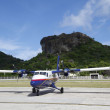 Stock Photo: Small plane ready to take off at St Barths airport, French West Indies
