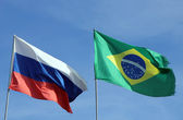 International flags Russian Federation and Brasil — Stock Photo