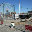 Rebuilding begins for Coney Island Boardwalk after damage by Hurricane Sandy - Stock Photo