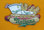 The Nathan's original restaurant sign at Coney Island, New York — Stock Photo