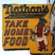 Stock Photo: Nathan's original restaurant sign at Coney Island, New York