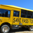 Tour bus climbing at Sani Pass trail between South Africa and Lesotho — Stock Photo