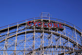 Historical landmark Cyclone roller coaster in the Coney Island section of Brooklyn. Cyclone is a historic wooden roller coaster opened on June 26, 1927 — Stock Photo