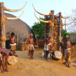 Stock Photo: Zulu worriers in Shakaland Zulu Village, South Africa