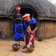 Zulu woman in traditional closes in Shakaland Zulu Village, South Africa - Stock Photo