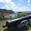 Old cannon on top of Gustavia Harbor, St. Barths, French West indies — Foto de Stock
