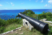 Old cannon on top of Gustavia Harbor, St. Barths, French West indies — Stock Photo