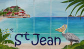 St. Jean Beach sign, St. Barths, French West Indies — Stock Photo
