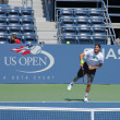 Professional tennis player Tommy Haas practices for US Open at Louis Armstrong Stadium at Billie Jean King National Tennis Center — Stock Photo