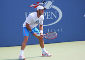 Professional tennis player Juan Monaco practices for US Openat Billie Jean King National Tennis Center — Stock Photo