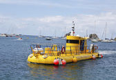 Yellow submarine in Gustavia marina, St. Barths — Stock Photo