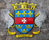 The coat of arms of Saint Barthelemy (St. Barths). On a white background, it serves as the unofficial Flag of St. Barths. — Stock Photo