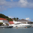 Luxury boats in Gustavia Harbor at St Barths, French West Indies — Stock Photo