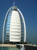Burj Al Arab hotel in Dubai. Burj Al Arab is a luxury 7 stars hotel and one of the most luxurious in the world — Stock Photo