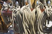 Rigging on vintage tall sail boat — Stock Photo