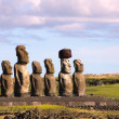 Moai at Ahu Tongariki, Easter Island, Chile — Stock Photo