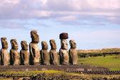 Moai at Ahu Tongariki, Easter Island, Chile — Stock Photo