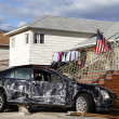 Destroyed car in the aftermath of Hurricane Sandy  in Far Rockaway, NY — Stock Photo