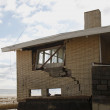 Destroyed beach house in the aftermath of Hurricane Sandy in Far Rockaway, NY - Stock Photo
