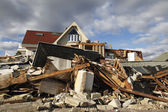Destroyed beach house in the aftermath of Hurricane Sandy in Far Rockaway, NY — 图库照片