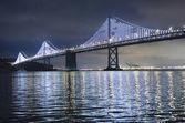 Illuminated Bay Bridge in San Francisco — Stock Photo