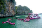 Popular sea canoe tour in Phang Nga Bay, Thailand — Stock Photo