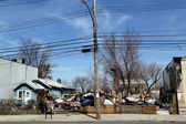 Destroyed house five month after Hurricane Sandy in Staten Island, NY — Stock Photo