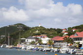 Waterfront at Gustavia Harbor at St Barths, French West Indies — Stock Photo