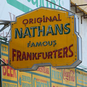 The Nathan's original restaurant sign at Coney Island, New York. — Stock Photo