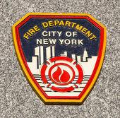 FDNY emblem on fallen officers memorial in Brooklyn, NY. — Stock Photo