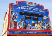 The Nathan's hot dog eating contest Wall of Fame at Coney Island, New York — Stock Photo
