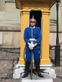 Royal Guard protecting Royal Palace in Stockholm, Sweden — Stock Photo