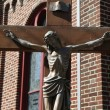 Bronze statue of Jesus Christ crucified — Stock Photo