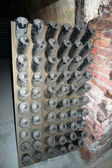 Champagne bottles stored in Moet Chandon cellar during riddling — Stock Photo