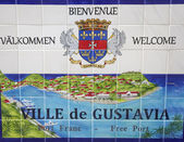 Gustavia sign, St. Barths, French West Indies. Gustavia is a capital of St. Barths — Stock Photo