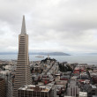 Areal view on Transamerica building and Coit Tower on overcast day  in San Francisco — Stock Photo