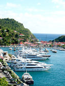 Aerial view at Gustavia Harbor with mega yachts at St Barts. — Stock Photo