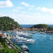 Aerial view at Gustavia Harbor with mega yachts at St Barts — Stock Photo