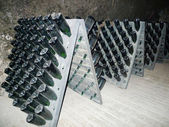 Champagne bottles stored in Schramsberg cellar during riddling — Stock Photo