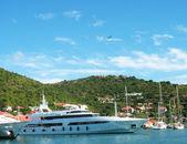 Aerial view at Gustavia Harbor with mega yachts at St Barts — Stock Photo