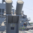 Harpoon cruise missile launchers on the deck of US Navy destroyer during Fleet Week 2012 - Stock Photo